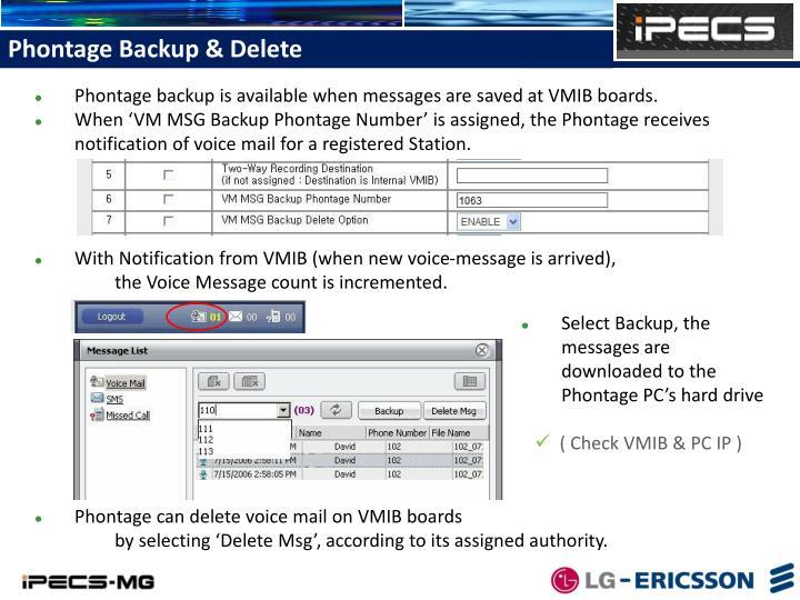 Phontage Backup & Delete