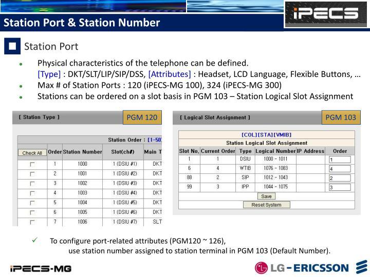 Station Port & Station Number