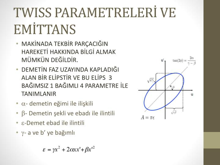 TWISS PARAMETRELERİ VE EMİTTANS