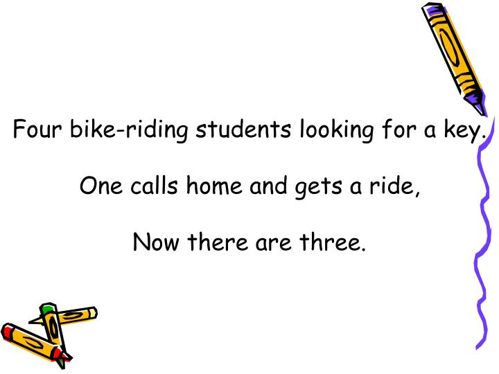Four bike-riding students looking for a key.