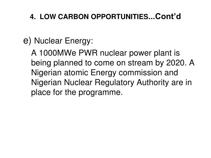 4.  LOW CARBON OPPORTUNITIES