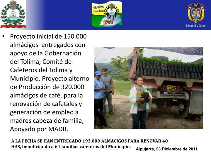 Proyecto inicial de 150.000 almácigos  entregados con apoyo de la Gobernación del Tolima, Comité de Cafeteros del Tolima y Municipio. Proyecto alterno de Producción de 320.000 almácigos de café, para la renovación de cafetales y generación de empleo a madres cabeza de familia, Apoyado por MADR.