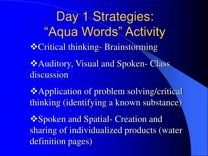 Day 1 Strategies: