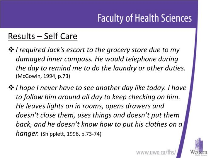 Results – Self Care