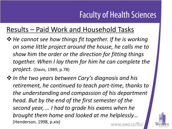 Results – Paid Work and Household Tasks