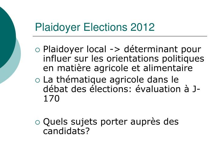 Plaidoyer Elections 2012