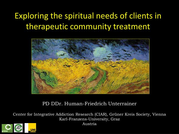 exploring the spiritual needs of clients in therapeutic community treatment n.