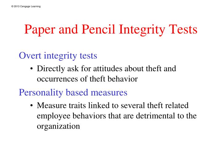 Paper and Pencil Integrity Tests