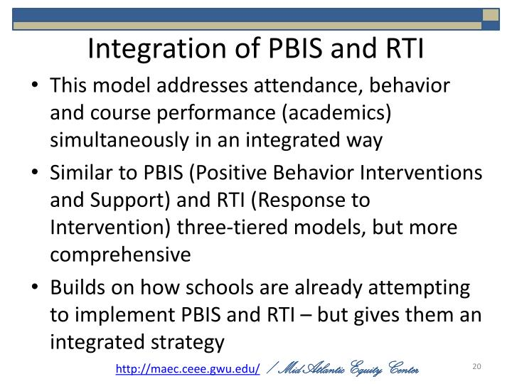 Integration of PBIS and RTI