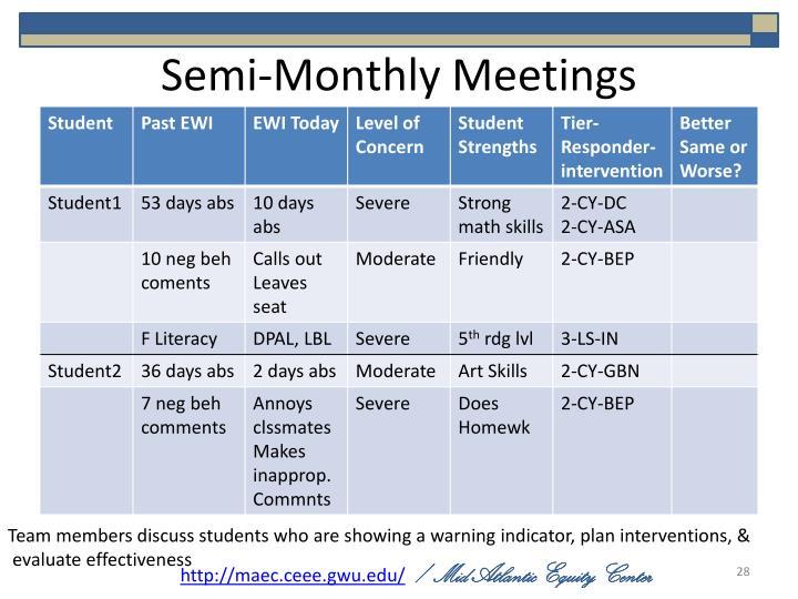 Semi-Monthly Meetings