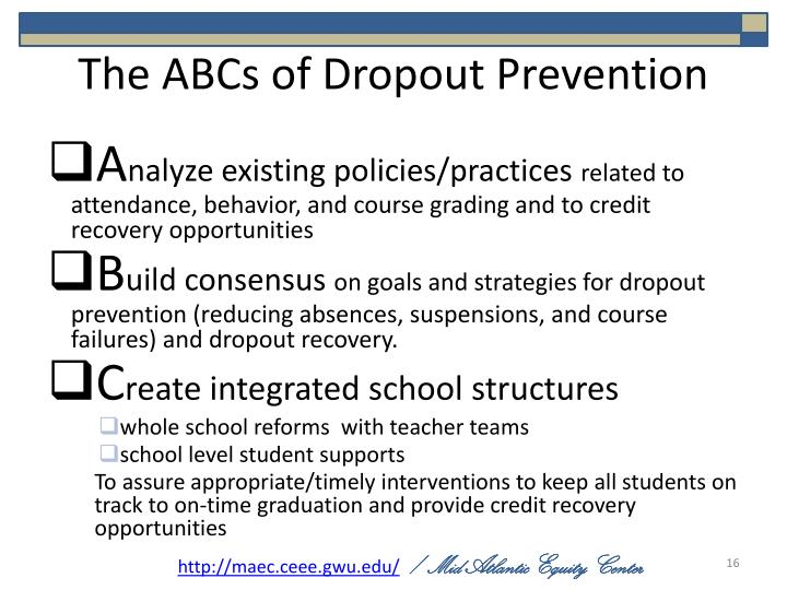 The ABCs of Dropout Prevention