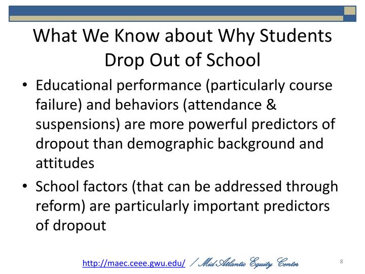 What We Know about Why Students Drop Out of School