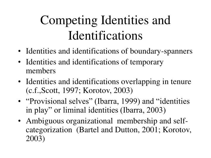 Competing Identities and Identifications