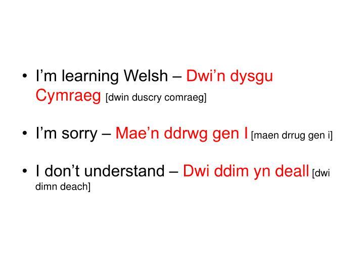 I'm learning Welsh –