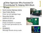 other agencies who assisted or contributed to helping with block party2