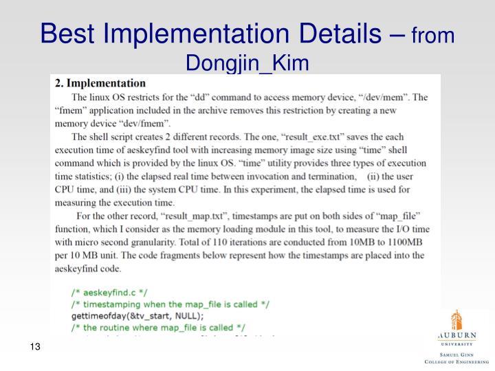 Best Implementation Details –