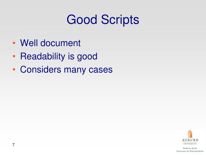 Good Scripts