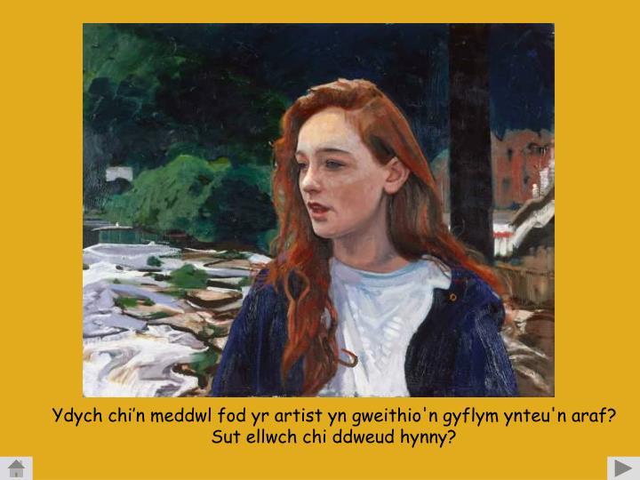 Ydych chi'n meddwl fod yr artist yn gweithio'n gyflym ynteu'n araf?