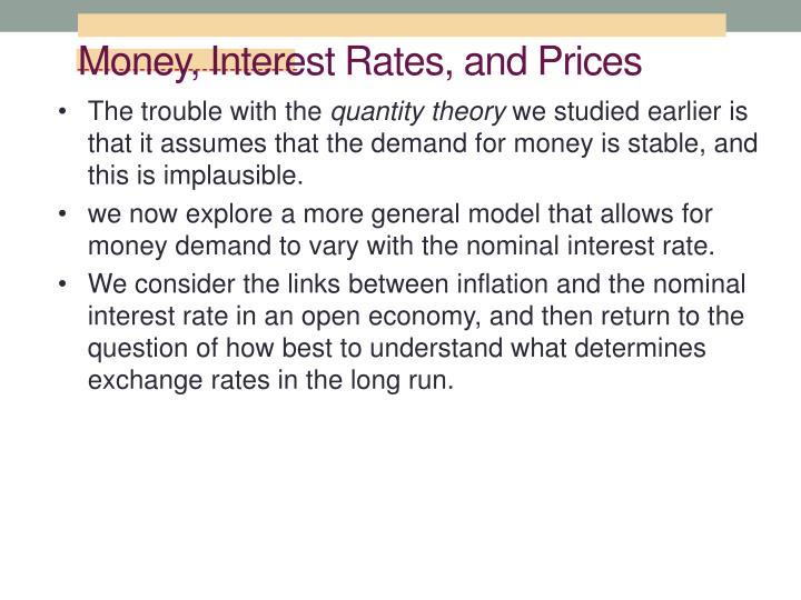 Money, Interest Rates, and Prices