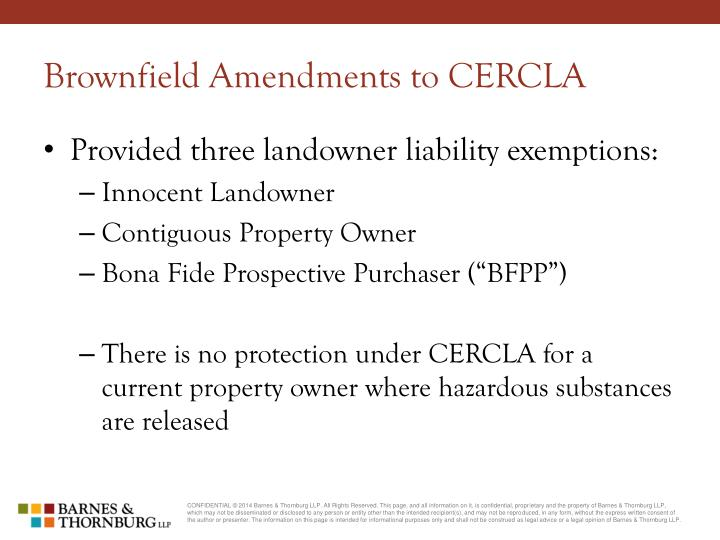 Brownfield Amendments to CERCLA