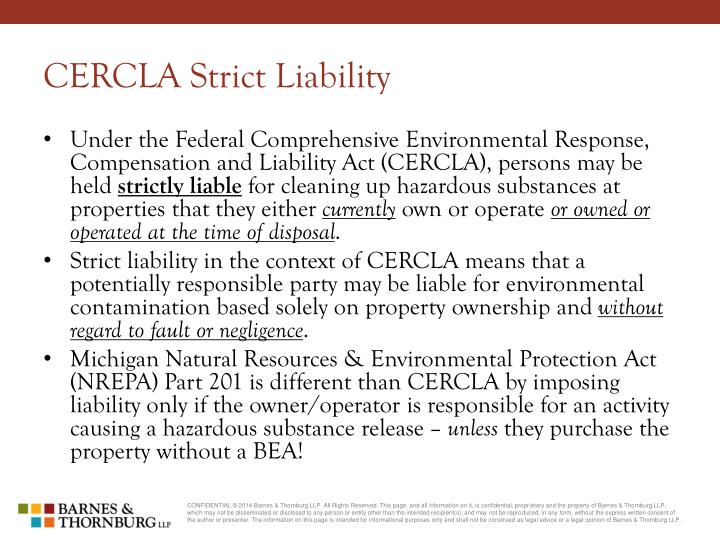CERCLA Strict Liability