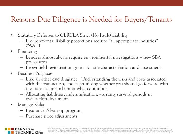 Reasons Due Diligence is Needed for Buyers/Tenants