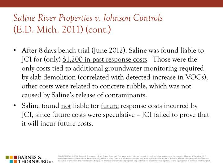 Saline River Properties v. Johnson Controls