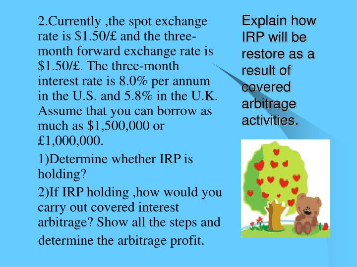 Explain how IRP will be restore as a result of covered arbitrage activities.