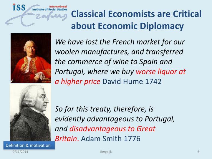 Classical Economists are Critical about Economic Diplomacy