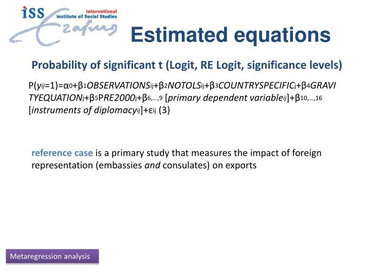 Estimated equations