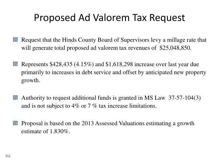 Proposed Ad Valorem Tax Request