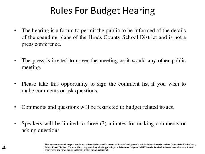 Rules For Budget Hearing