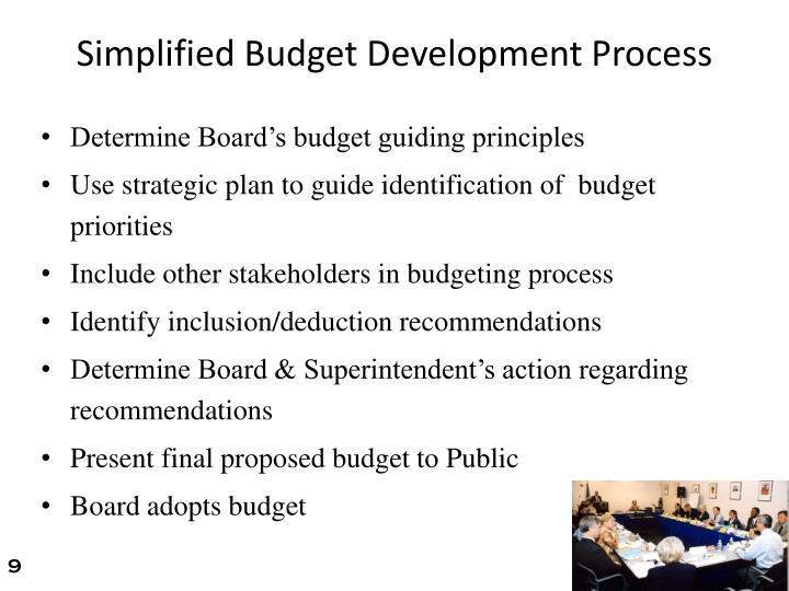 Simplified Budget Development Process
