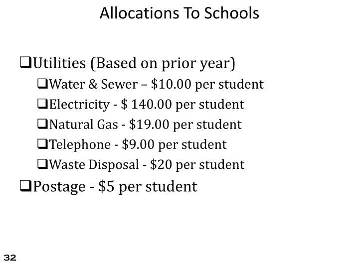 Allocations To Schools