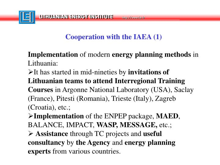 Cooperation with the IAEA (1)