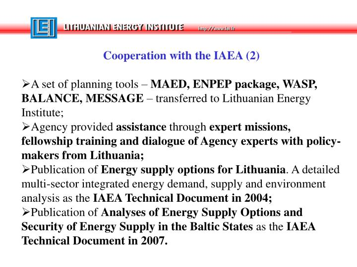 Cooperation with the IAEA (2)