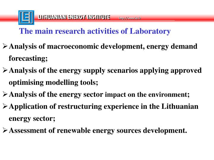 The main research activities of Laboratory