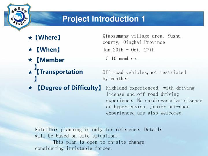 Project introduction 1