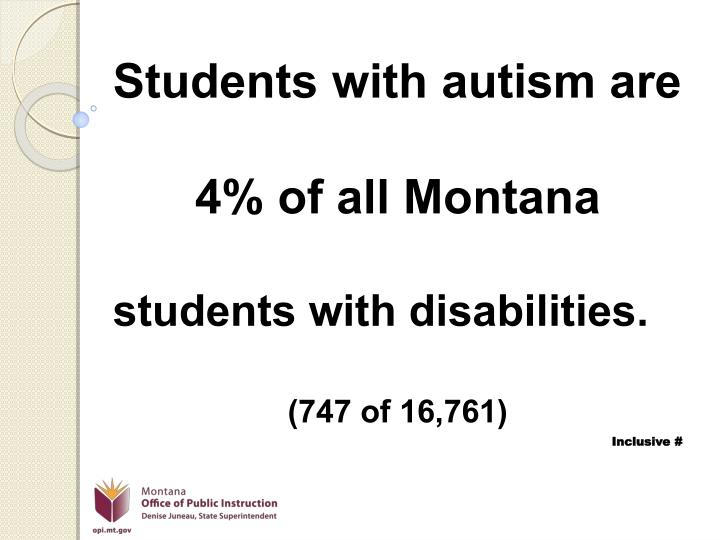 Students with autism are