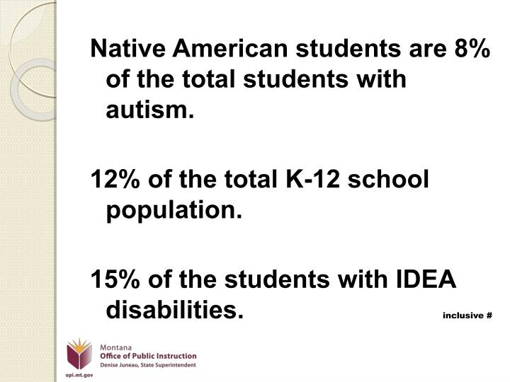 Native American students are 8% of the total students with autism.