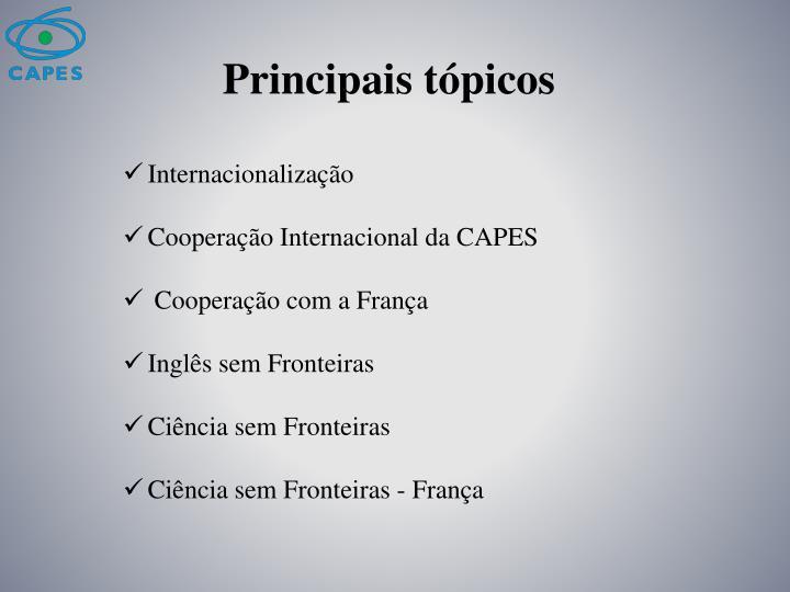 Principais tópicos