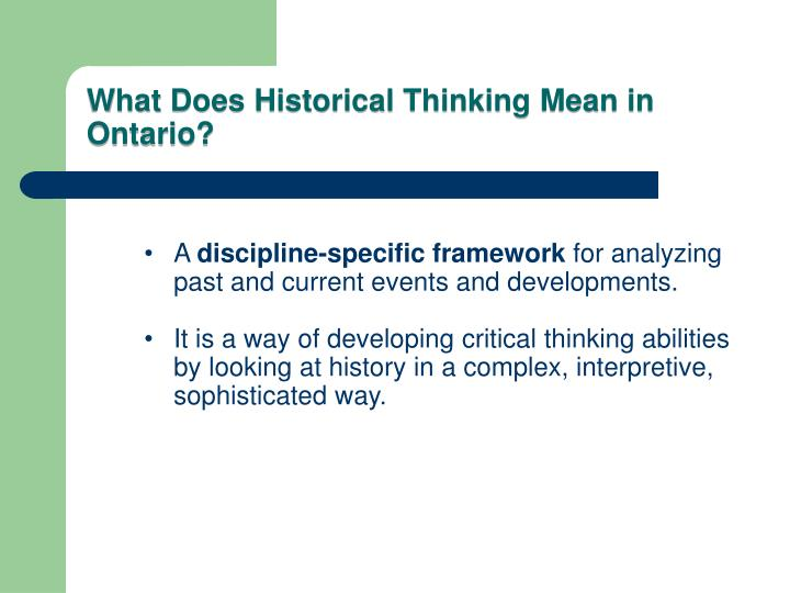 What does historical thinking mean in ontario