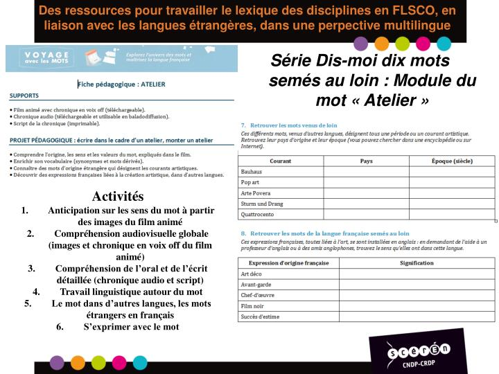 Des ressources pour travailler le lexique des disciplines en FLSCO, en liaison avec les langues étrangères, dans une perpective multilingue