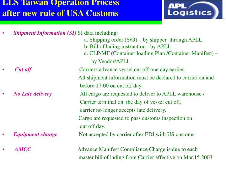 LLS Taiwan Operation Process