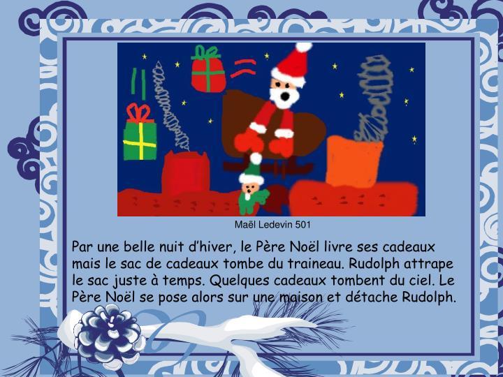 Par une belle nuit d'hiver, le Père Noël livre ses cadeaux  mais le sac de cadeaux tombe du traineau. Rudolph attrape le sac juste à temps. Quelques cadeaux tombent du ciel. Le Père Noël se pose alors sur une maison et détache Rudolph.