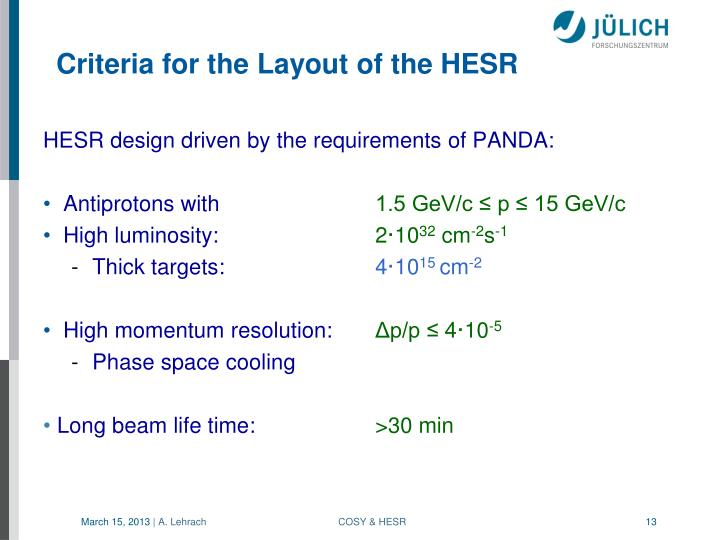 HESR design driven by the requirements of PANDA: