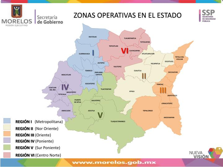 ZONAS OPERATIVAS EN EL ESTADO