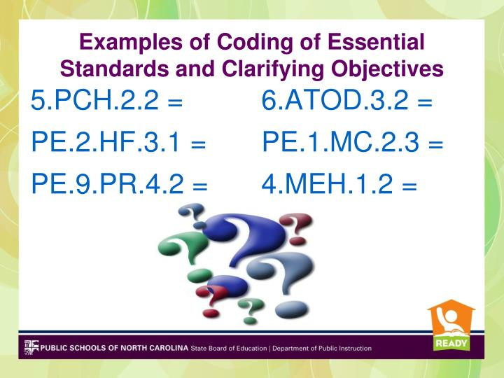 Examples of Coding of Essential Standards and Clarifying Objectives