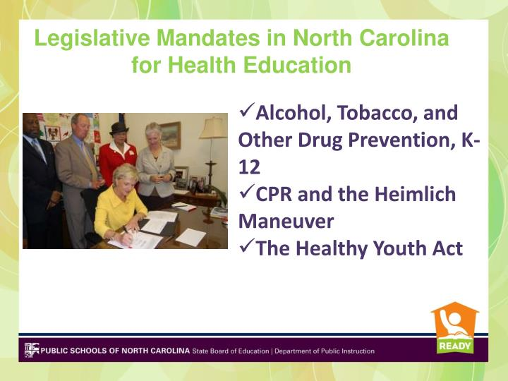 Legislative Mandates in North Carolina for Health Education