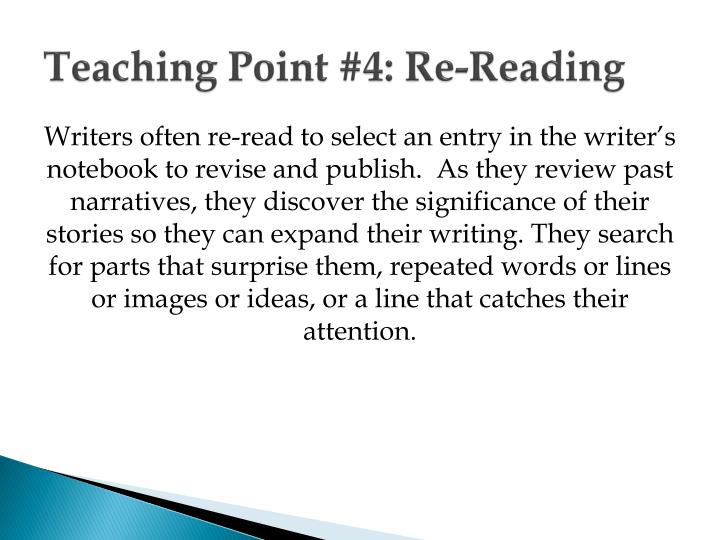 Teaching point 4 re reading
